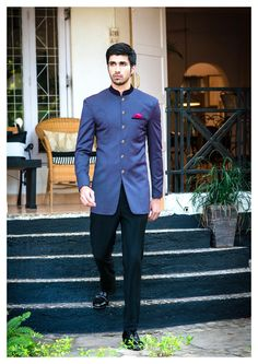 blue bandhgala with high neck and jodhpur trousers, pink hankerchief, sangeet o engagement outfit, grooms brother outfit, brides brothers outfit Wedding Dress Men, Indian Wedding Outfits, Casual Wedding, Wedding Men, Wedding Groom, Wedding Suits, Wedding Reception, Wedding Ideas, Farm Wedding