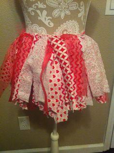 Valentines rag fabric skirt by lovestocreatethings on Etsy