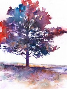 I am addicted to watercolor drawings. I  have a deep love for trees, I always have. The combination of the water color and the tree is quite lovely.