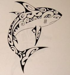 Tribal Shark Tattoo Sketch