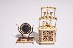 A set of carved bone miniature dollhouse furniture, France, 19th C.