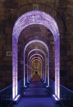 Viaduct of Chaumont. by Didier Boy de la Tour via Arch Light, Light Art, Facade Lighting, Exterior Lighting, Club Lighting, Outdoor Lighting, Nightclub Design, Architectural Lighting Design, Light Building