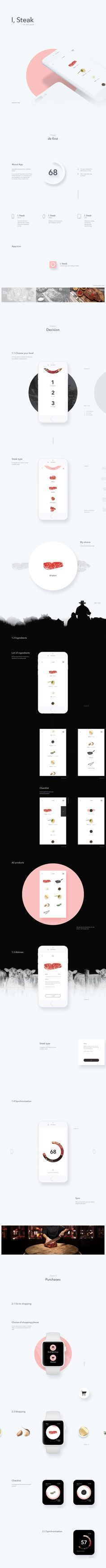 Minimal . Pink . Black&White . App . UI . UX . Products I, Steak App, Сайт © АлексейЮрков