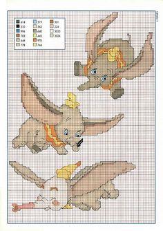 Dumbo the elephant flying - free cross stitch patterns crochet Disney Cross Stitch Patterns, Cross Stitch For Kids, Cross Stitch Baby, Cross Stitch Alphabet, Cross Stitch Charts, Cross Stitch Designs, Learn Embroidery, Cross Stitch Embroidery, Embroidery Patterns