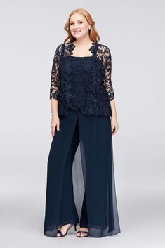 1b48c245fd977 Guipure Lace and Chiffon Plus Size Pant Suit Mother Of The Bride Jackets