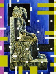 Studio di neoplastica egizia IV (re Chefren), 2002, olio su lino, cm 200 x 150.