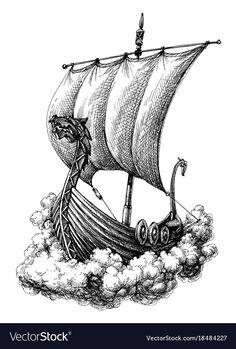 Sail boat drawing vector image on VectorStock Viking Ship Tattoo, Viking Warrior Tattoos, Norse Tattoo, Viking Dragon Tattoo, Boat Drawing, Ship Drawing, Viking Drawings, Viking Longship, Viking Art