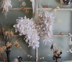 Tattered Snow Angel Wings - Abandoned Vintage Rag Fabric Shabby Chic Christmas Wings - Made To Order. $64.00, via Etsy.