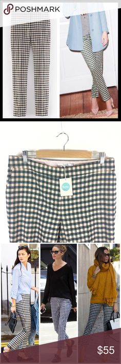 """boden // gingham plaid check wool bistro trousers The same sleek, Sixties-inspired style as our bestselling Bistro Crop Trouser, but with a full-length leg. Fitted through waist, hip and thigh with a straight leg. Concealed hook and bar fastening at centre front waist with zip fly. Front pockets. 100% wool outer, fully lined with 100% polyester. Light pink and dark green gingham check pattern. Brand new with tags. Size is US 16R. 17.5"""" across the waistband lying flat with a 31"""" inseam. Photo…"""