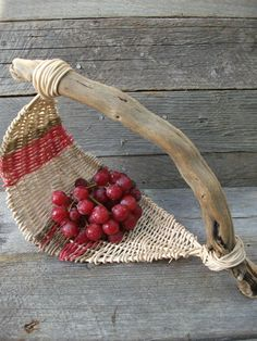 Unique basket with driftwood handle
