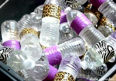 Safari themed baby shower - water bottles wrapped with duck tape