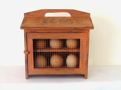 Rustic wooden egg  cabinet , eggs storage box in orange for cottage chic  style decor