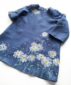 Flower Girl Dress-Blue linen girls dress-linen-painted dress-ON ORDER… Vintage Girls Dresses, Girls Blue Dress, Little Girl Dresses, Fabric Paint Shirt, Paint Shirts, Kids Outfits Girls, Baby Outfits, Dress Painting, Painted Clothes