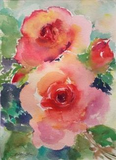 """Daily Paintworks - """"Love of Roses-2"""" - Original Fine Art for Sale - © Lisa Fu"""