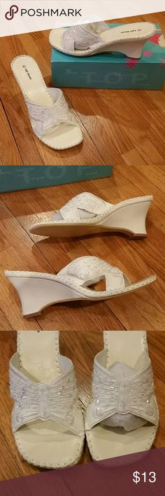 """French white butterfly sequin sandals Brand new heel height 3.2"""" Top Moda Shoes Platforms"""