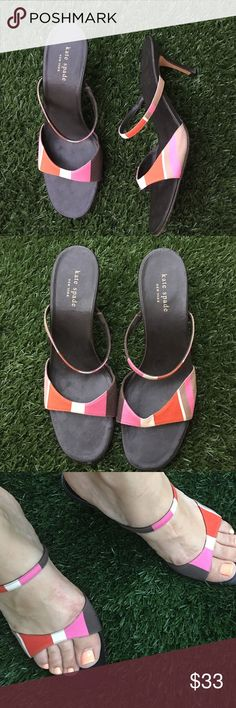 Kate Spade Brown Mod Print Heels Pumps Pink White Low Sandal Heels - Kate Spade size 9.5 but could also fit size 9. Mod print canvas Kate Spade slides. Brown, pink, white and orange. Block dual strap sides. kate spade Shoes Sandals