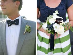 navy + apple green - possibly add some of these navy blue privet berries for accent.