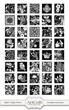 BLACK AND WHITE Squares 1x1 Inch Digital Collage Sheet by ArtCult