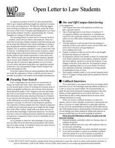 NALP OPEN LETTER TO LAW STUDENTS  http://www.nalp.org/uploads/2012OpenLetter.pdf