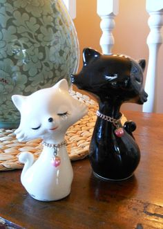 Pair of Vintage Ceramic Cats in Black and White with by WrathofRa, $16.50