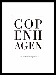 Copenhagen, plakater. Tekstposter Copenhagen. Poster med teksten Copenhagen i stilren font, til dig som elsker denne skønne by. Super flot indrammet på væggen!