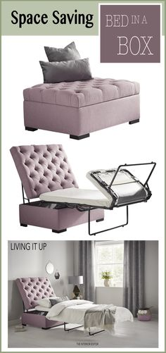 Bed In A Box - Space Saving Saviour By Living It Up, multifunctional furniture piece that offers seating, coffee table and bed perfect for unexpected guests Apartment Furniture, Table Furniture, Bedroom Furniture, Home Furniture, Furniture Design, Furniture Stores, Furniture Ideas, Bedroom Decor, Folding Furniture