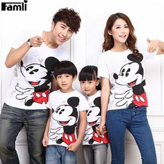 f8747939bc 1pc Family Matching Clothes Father Son Mother Daughter T-shirts Outfits  Summer Short Fashion Cartoon