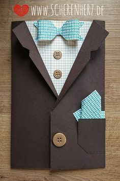 Birthday Card - a true gentleman colors: Espresso stamp set: Four F . Birthday card – a true gentleman colors: Espresso stamp set: Four Feathers, Great luck Stampi - Cool Birthday Cards, Diy Birthday, Cool Cards, Diy Cards, Stampin Up, Karten Diy, Dress Card, Fathers Day Crafts, Masculine Cards