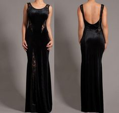 BLACK VELOUR LACE MESH INSET PANELS SLEEVELESS COCKTAIL MERMAID MAXI DRESS GOWN