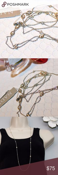 """Nadri 2 tone long station Necklace Really lovely delicate and versatile necklace from Nadri.  Rhodium and 18 K gold plated with bezel set Cubic Zirconia. 36"""" long. Where it long, layered or double it up! Nadri Jewelry Necklaces"""