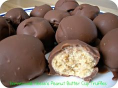 Homemade Reese's Peanut Butter Cup Truffles Ingredients:  -1 cup (2 sticks) butter, softened  -1 lb powdered sugar  -1 cup peanut butter  -10-12 graham crackers  -dipping chocolate, melted    Put graham crackers in a food processor or plastic Ziploc bag and beat until they are finely crushed. Mix butter, powdered sugar, peanut butter,