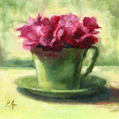 Linda's+Witness+in+Art:+Flowers+in+the+Teacup+oil+6x6