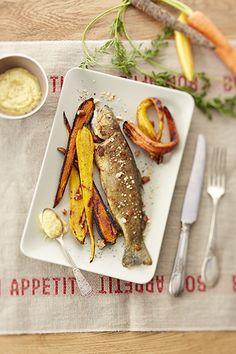Truite Fario et carottes rôties - Artichaut et cerise noire