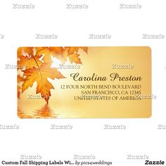 Custom Fall Shipping Labels With Orange Leaves Coordinated fall shipping labels with a beautiful orange fall leaves design.  Matching products for this wedding invitation set can be found in the collection below.