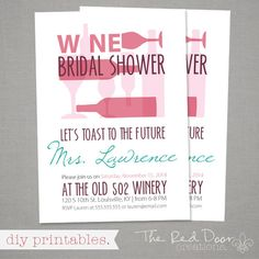 Wine Bridal Shower/Adult Birthday/Wine Tasting by amerrydesign