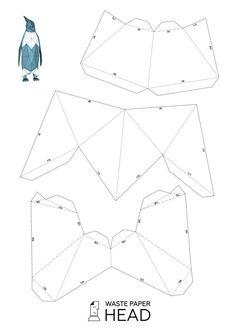 Papier-Pinguin druckbare Vorlage von WastePaperHead auf Etsy
