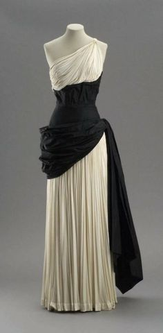 Evening dress by Madame Gres, early 1950's France, MFA Boston  //  black accessories
