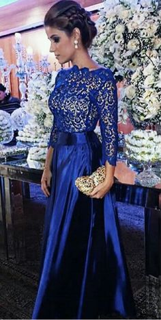 Blue high-necked lace long sleeve evening gown, ball #prom #promdress #dress #eveningdress #evening #fashion #love #shopping #art #dress #women #mermaid #SEXY #SexyGirl #PromDresses
