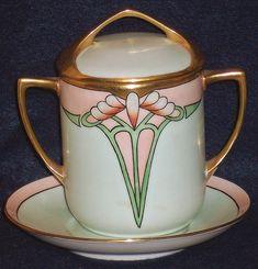 Hand Painted Art Deco Condensed Milk Container