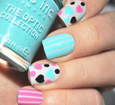 Light blue and polka dots nail art Nail Art Designs 2016, Creative Nail Designs, Simple Nail Art Designs, Great Nails, Fabulous Nails, Love Nails, Dot Nail Art, Polka Dot Nails, Polka Dots
