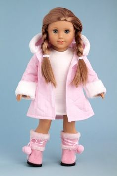 BONEQUINHAS Cotton Candy - Pink parka with hood, short ivory dress and pink boots - 18 Inch American Girl Doll Colhes