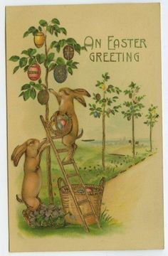 Easter Greetings Rabbits Hanging Decorated Eggs on Trees Gilt c1910