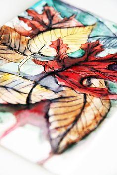 watercolor leaves and ink in details Alisa Burke