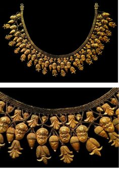 Necklace from Ruvo, Italy 480 BC. It was found in Apulia, a Greek colony, but it was produced in Etruria