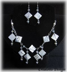 Black and white nacre necklace and earrings by crealotte on Etsy, $50.00