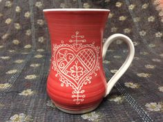 Red Heart Porcelain Mug 3