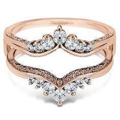 Rose Gold Plated Sterling Silver Chevron Style Ring Guard with Millgrained Edges and Filigree Cut Out Design set with Cubic Zirconia (0.74 Ct. Twt.) TwoBirch http://www.amazon.com/dp/B00CKHIM0Q/ref=cm_sw_r_pi_dp_wVDfvb1HNAC1W