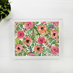 Lucite Tray - Sweet Floral Lucite Tray, Trays, Sweet, Floral, Painting, Candy, Flowers, Painting Art, Paintings