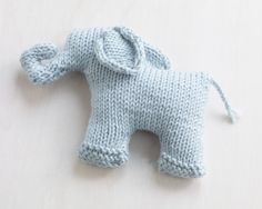 Free Knitting Pattern for Sweet Mini Elephant - oy knit flat and seamed. Designed by Lion Brand Yarn Baby Patterns, Knitting Patterns Free, Free Knitting, Baby Knitting, Knitted Dolls, Crochet Toys, Crochet Baby, Knit Crochet, Crochet Dolls