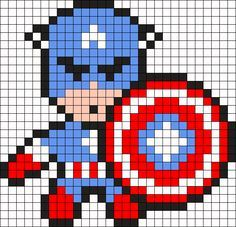 Captain America Perler Bead Pattern / Bead Sprite - Visit to grab an amazing super hero shirt now on sale! Fuse Bead Patterns, Kandi Patterns, Perler Patterns, Beading Patterns, Pixel Crochet, Crochet Chart, Pixel Art Super Heros, Cross Stitch Designs, Cross Stitch Patterns
